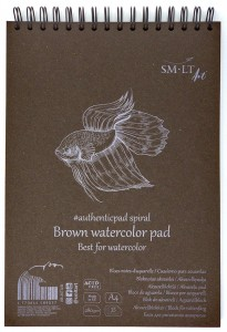 SMLTArt Authentic Watercolor Brown blok A4 na spirali 280g 35ark AB-35TS/B