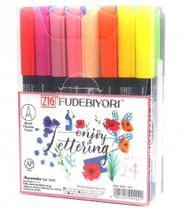 KURETAKE ZIG FUDEBIYORI - 24 PCS NEW COLOUR SET