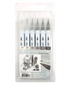 KURETAKE ZIG Clean Color Real Brush set COOL GRAY RB-6000AT/6VB